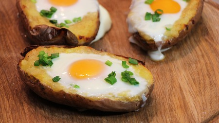 russet: Twice baked potato. Potato baked with cheese, green onion and egg.