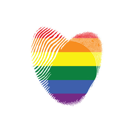 Conceptual Logo with Fingerprint Rainbow Heart. Illustration