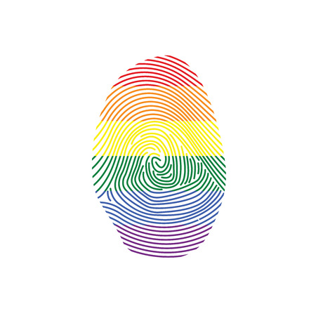 theft proof: Rainbow Finger Print in Colors of LGBT Pride Flag Illustration