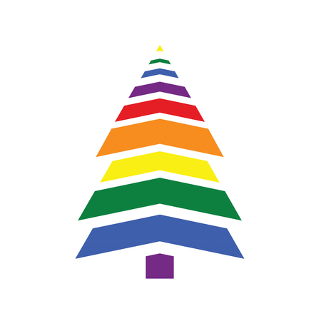 Christmas tree in rainbow colors Illustration