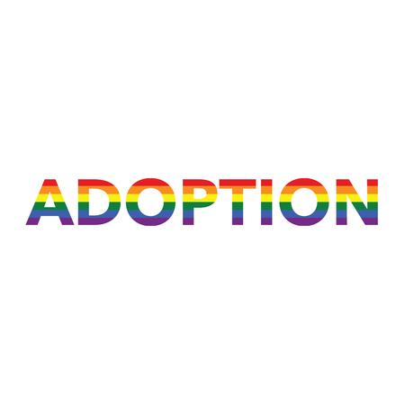 Adoption: Rainbow color calligraphy Illustration