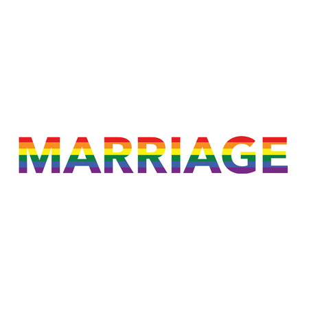 Marriage: Rainbow color calligraphy