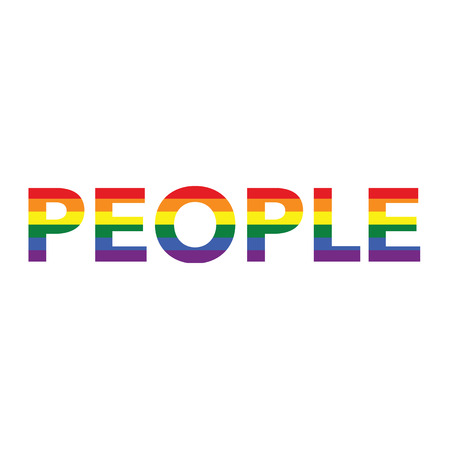 People: Rainbow color calligraphy