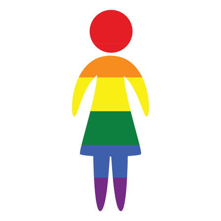 Lesbian vector icon in colors of LGBT rainbow flag