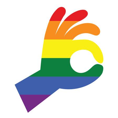 Gay and LGBT rainbow colors peace hand shape.