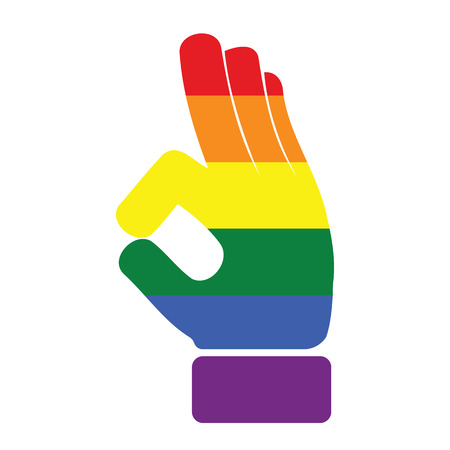 Gay and LGBT rainbow colors peace hand shape. Its okay to be gay