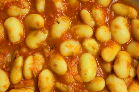 White Beans in Tomato Sauce. Close up