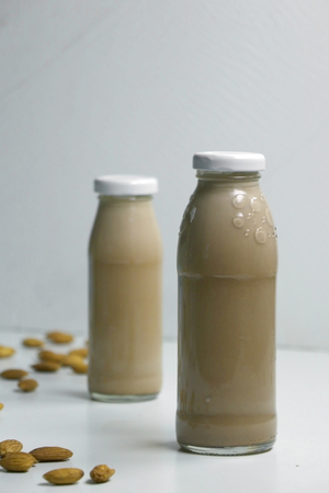 Plant based almond milk with cocoa. Healthy vegan food Stock Photo