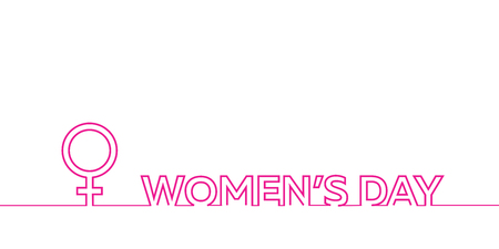 Happy Womans Day, March 8 elegant calligraphy banner. International Womens Day with text and female sign made of line