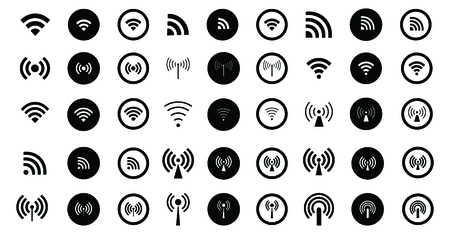 Set of 45 different Wifi icons. Vector wi-fi signal sign. Set of monochrome wireless symbols. Illustration