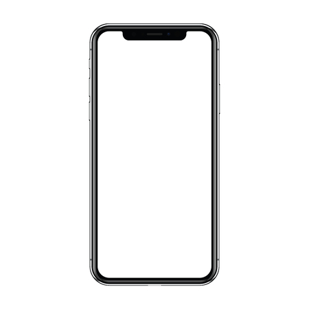 New version of black slim smartphone X with blank screen isolated on a white background. Realistic vector illustration