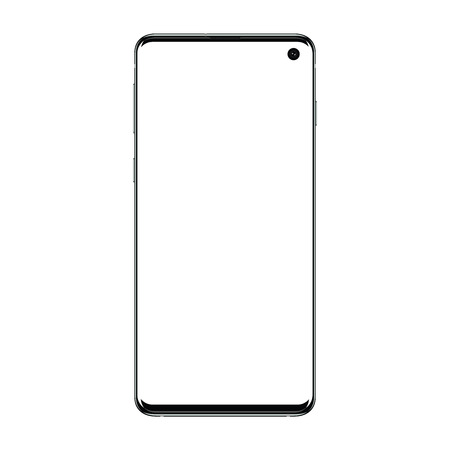 Realistic vector illustration image of trendy smartphone mockup with thin frames and blank screen isolated on transparent background.