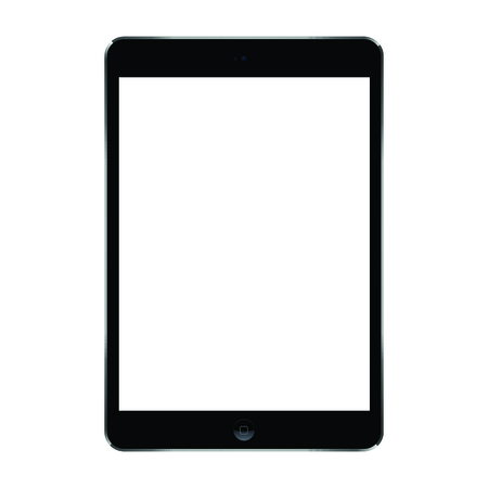 Vector mockup of trendy 10.5-inch black tablet isolated on transparent background. Blank screen.