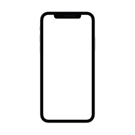 New smartphone with blank screen isolated on transparent background. Flat style, top view.