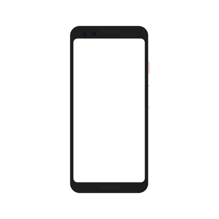 Realistic mock up of a trendy smartphone or camera phone with blank screen isolated on transparent background. Illustration