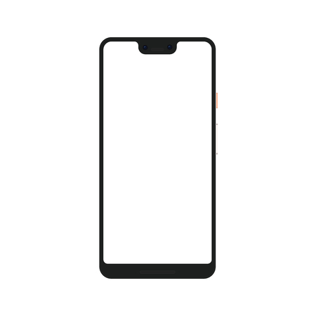 Realistic mock up of a trendy XL smartphone or camera phone with blank screen isolated on transparent background. Vector EPS10 Illustration