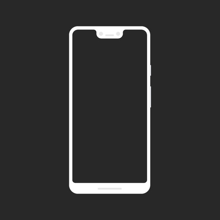 Flat style mock up of a trendy XL white smartphone or camera phone with blank screen isolated on transparent background.