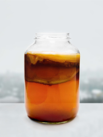 Healthy homebrewed fermented drink with bacterial and yeast cultures.