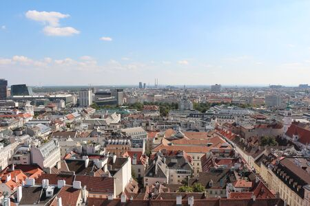 Panoramic aerial view from the historic old town of Vienna, Austria over the city. Skyline landscape of Vienna.