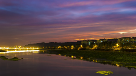 colourful lightings: Night view of river Stock Photo