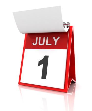 calendario julio: En primer calendario de julio, 3d Foto de archivo