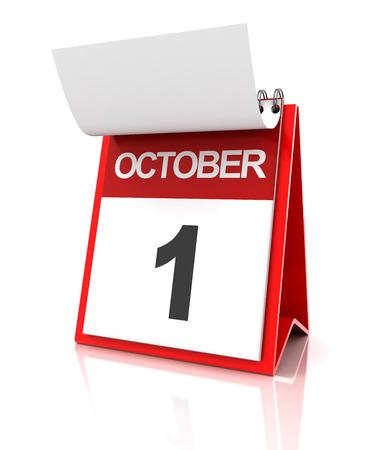 october: First of October calendar, 3d render