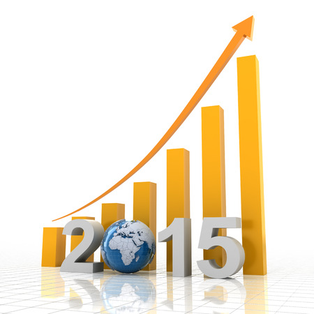 year increase: 2015 global growth, 3d render Stock Photo