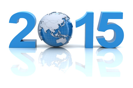 New year 2015 with globe, 3d render photo