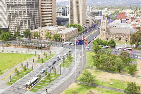 View of Adelaide city in South Australia in the daytime Stock Photo