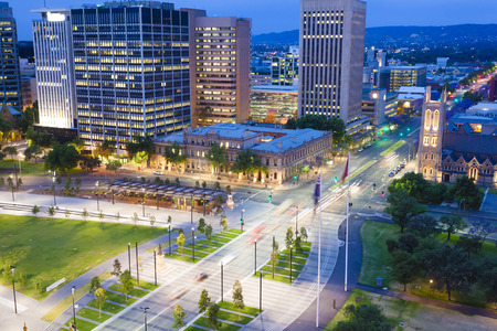 View of downtown area in Adelaide, South Australia, at twilight Archivio Fotografico