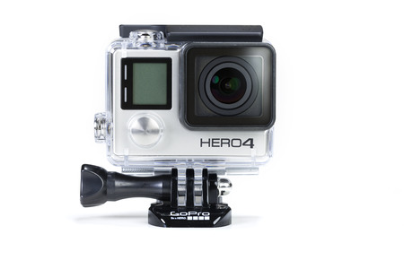 go to: Adelaide, Australia - Oct 13: Studio shot of GoPro Hero 4 Black on Oct 13, 2014. It is a compact, lightweight personal camera manufactured by GoPro Inc. The camera is often used in extreme action video photography.