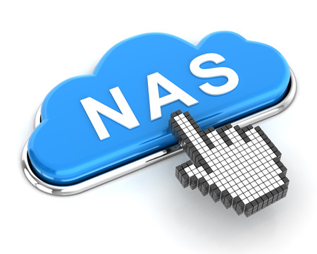 nas: Clicking a cloud shaped NAS button, 3d render Stock Photo