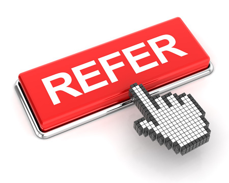 referral: Clicking on refer button, 3d render