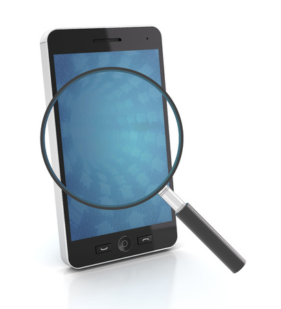cellphone icon: Smartphone with magnifying glass, 3d render Stock Photo