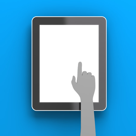 copyspace: Paper hand clicking a digital tablet with copyspace, 3d render