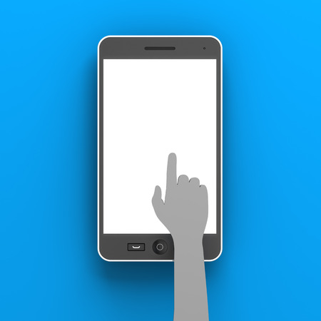 copyspace: Paper hand clicking a smartphone with copyspace, 3d render