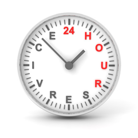 24 hour: Clock with 24 hour service text, 3d render