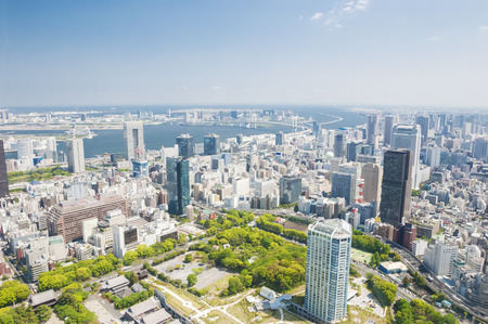 昼間の東京市の空中写真 写真素材