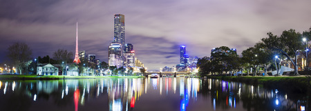 night life: Panoramic view of skycrapers along the Yarra River in Melbourne Stock Photo