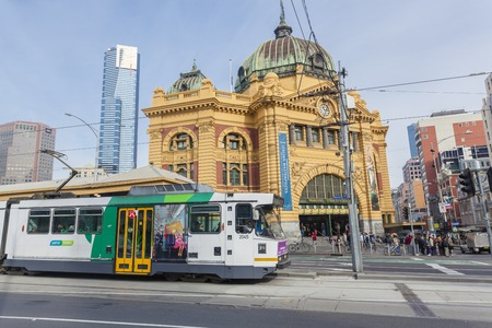 Melbourne, Australia - July 21, 2014: View of Finders Street Station in Melbourne, Australia. The station is the first railway station in Australia and one of the busiest stations. Publikacyjne