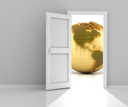 golden globe: Opened door with golden globe formed by dollar sign, wtih copyspace, 3d render