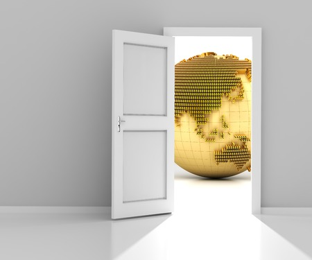 opportunity sign: Opened door with golden globe formed by dollar sign, wtih copyspace, 3d render