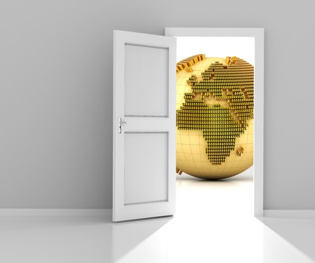 making earth: Opened door with golden globe formed by dollar sign, wtih copyspace, 3d render
