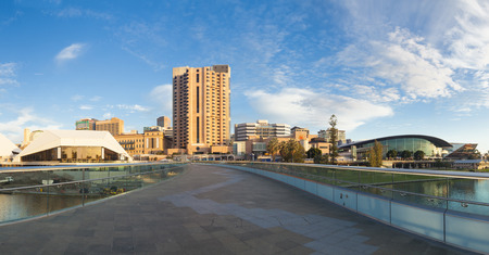 Downtown area of Adelaide city in Australia at sunset