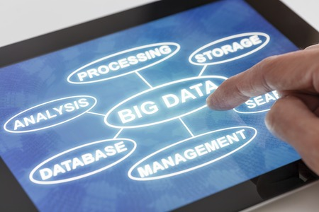 Clicking on a tablet with words related to Big data technology photo