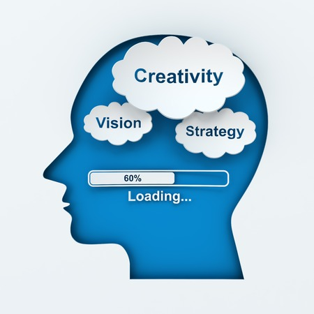 Loading creativity, vision and strategy, 3d render photo
