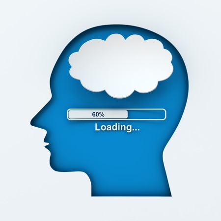 Human head with loading bar and thought bubble with copyspace, 3d render photo