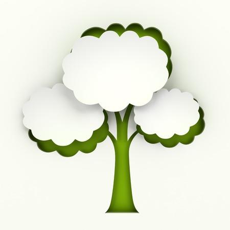 Árbol de papel recortado infografía con copyspace, fondo blanco Foto de archivo