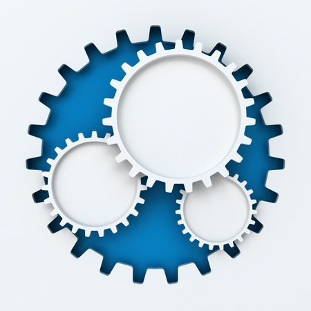 cog: Gear paper cutout infographic with copyspace, white background Stock Photo