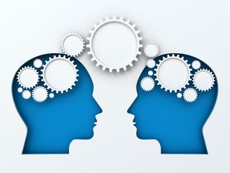 conocimiento: Infografía con las cabezas cortadas de papel y engranajes, con copyspace, 3d